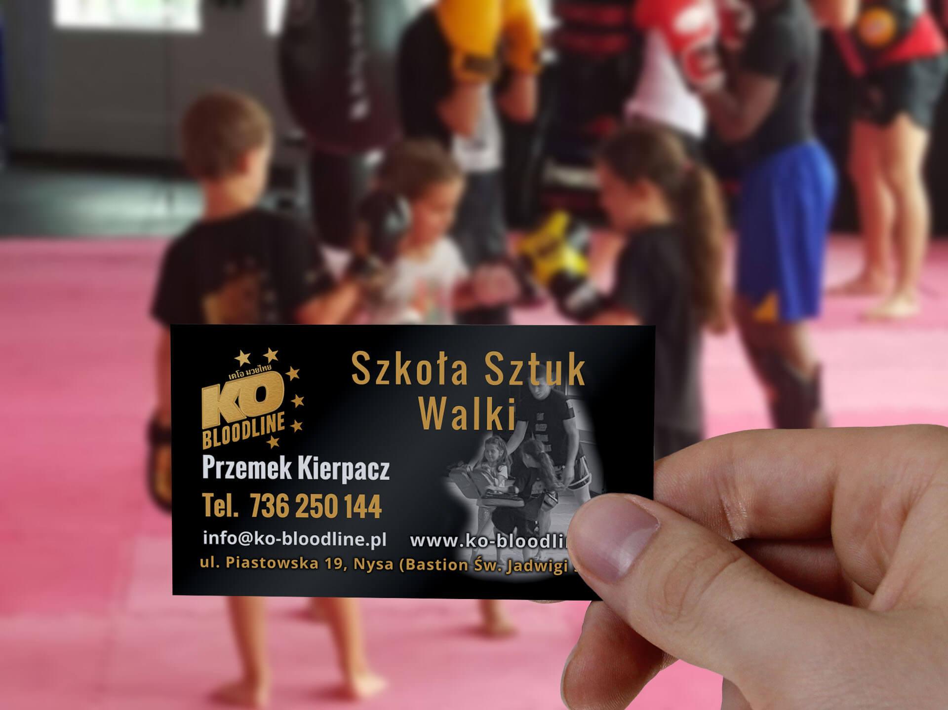wizytówka dla szkoły sztuk walki