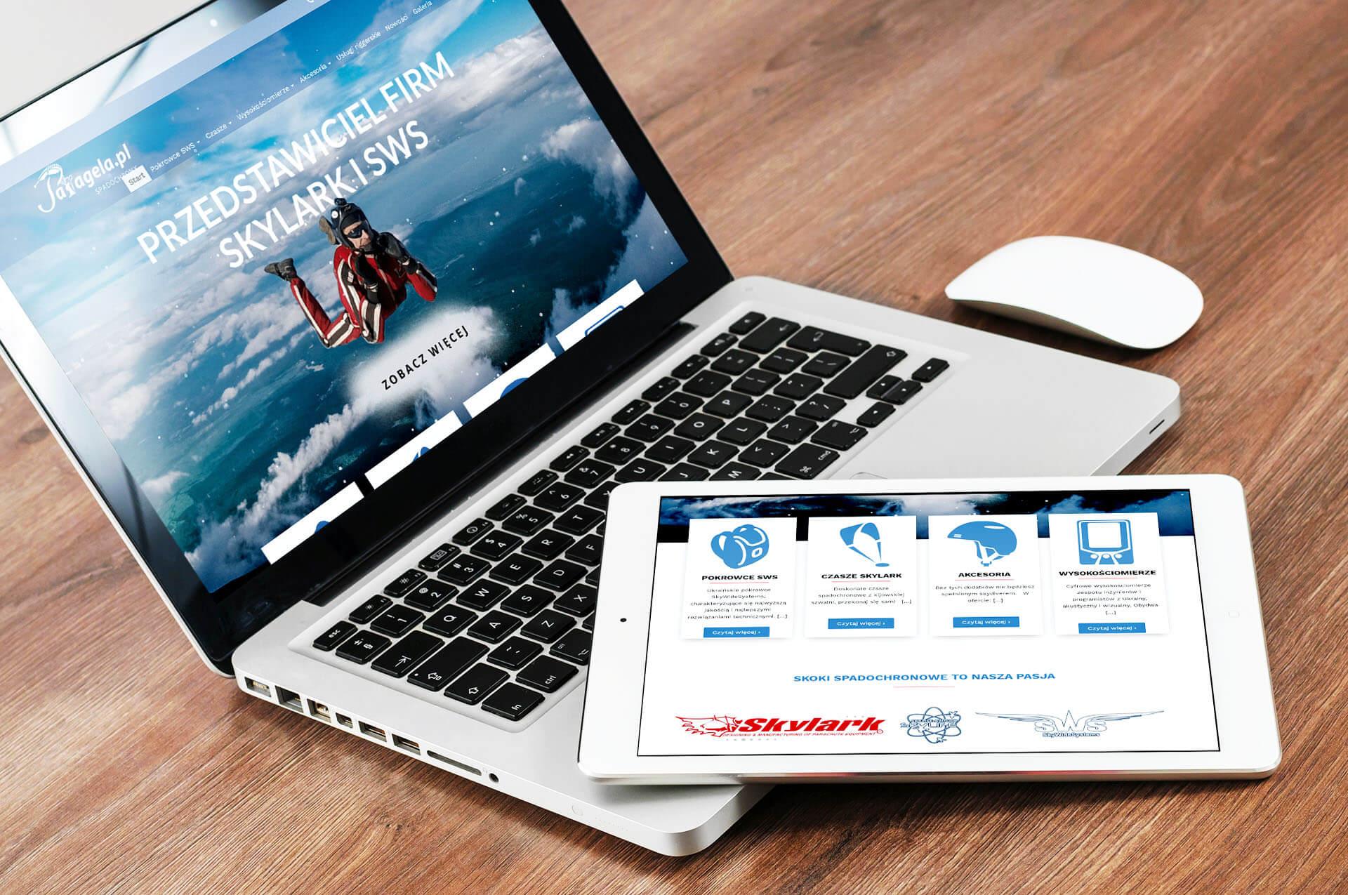 strona www dla firmy oferującej skoki spadochronowe